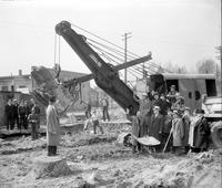 streets; Michigan. widening at Livernois. Varnum B. Steinbaugh starts shovel