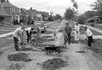 streets; Rutherford. residents repairing street