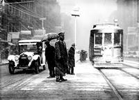 streets; winter scenes. snow piled on streets. old scenes. on Woodward Avenue. 4 negs