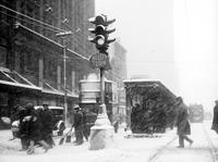 streets; winter scenes. snow storm .