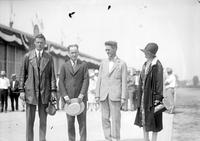 Lindbergh, Colonel Charles; At Ford Airport. -With; Henry Ford . -With; Edsel Ford. -With; Mr. William B. Stout. -With; Mayor John W. Smith, etc.