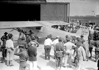 Lindbergh, Colonel Charles; At Selfridge Field; Crowd; With Major Lamphier; With Airplane