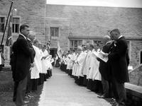 "Michigan; Cities; ; Bloomfield Hills. Christ Church. Cranbrook. Dedication 09/29/28. ""Knocking on the door"". ""Marking the boundaries"". Parish house dedication."