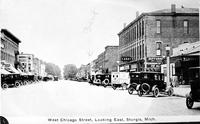 Michigan; Cities; ; Sturgis. West Chicago Street. - Main Street. - Sturgis National Bank.