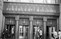 Penobscot Building; Exterior View. Night scene