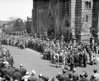 Pilsudski, Joseph; Polish General. Services at Sweetest Heart of Mary Catholic Church. Crowds parading to church