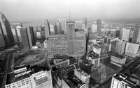 Aerials; Detroit; Downtown; J. L. Hudson Building In Center of Picture. 1978