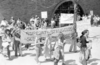 Apartheid; Protests Against; University of Michigan Students Demonstrating Against Apartheid In South Africa. -Asking University to Divest of Stock in South Africa