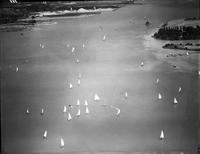 Boats; Races; Sail; Detroit River. - Airphotos.