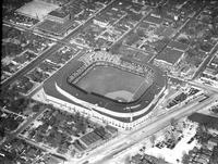 Aerials; Baseball; American League; Detroit; Briggs Stadium.--World series taken from an Amer. Airlines flagship, 1940