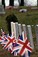 Oak Ridge Cemetery; Near Trenton. Union Jack at graves of British service men.