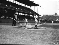 Fox, Ervin (Pete); Baseball 1934. Action. Sliding into base. 3 negs. Date is 1934