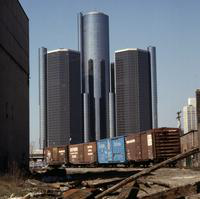 Detroit Renaissance Center; Amtrak (SEMTA) Railroad Cars In Foreground.