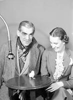 Karloff, Boris; Actor . - with Cosette Merrill & Radio Chick