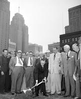 City County Building; Construction. -Mayor Cobo Laying Cornerstone. City-County Bldg.