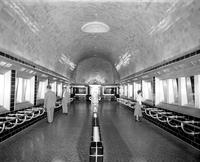 Belle Isle; Aquarium . Interior view showing exhibits and visitors.