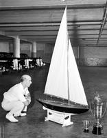 Boats; Model; Sailboats. -Archie Arroll's model yacht winner