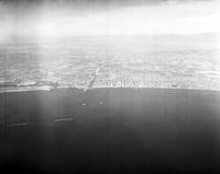 California; Cities; Los Angeles. Waterfront. Looking North over harbor to Long Beach