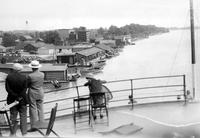 Prohibition; Canada; Export. Loaded boats at Windsor liquor docks.