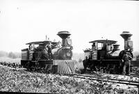 "Railroad: Locomotives: Copy of Locomotive used in Lumbering Camp in Michigan about 1890. Note: Negative reads: ""Copied March 1930""."