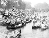 Belle Isle Band Stand. Crowds listening to concert . Canals around Band Stand Filled with Canoes. 7 negs 8x10. 2 negs 5x7