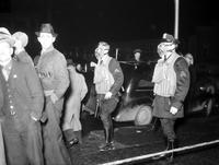 Michigan; Cities; ; Flint. Police wearing gas masks.