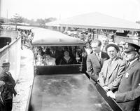 Parks Zoo. Miniature Railroad Misc. Crowd at presentation 1931.