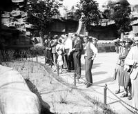 Parks Zoo. Miniature Railroad Misc. Crowd at presentation 1931. date is 1931