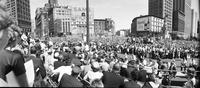 crowds. city hall. John F. Kennedy visit.