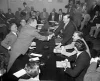 Reuther, Walter P. ; Labor Leader; Groups 1958. Walter P. Reuther with John D. Leary