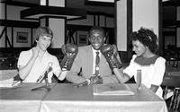 Thomas, Hearns; Boxer. with Kevin Wright and Margretha King at Charley Manos' press conference