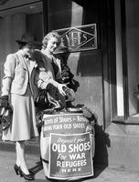 Wars; World; # 2; Refugee. Campaign for shoes for British refugees;. Geraldine Grabau and Alma Simpson pictured here