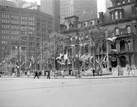 City Hall; Exterior View of Bldg . Flags at 1/2 mast, mourning death of President FDR.