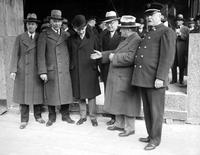 Fire Department; Buildings; New Headquarters. Cornerstone laying. L-R:  C. Hayward Murphy, Charles F. Clippert, John C. Lodge, George W. Trendle, A. A. Schantz & Chief Stephen J. Demay.