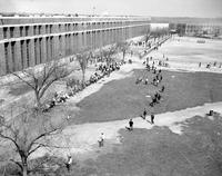 Michigan; Prisons; Jackson; Riot: 1952 Exterior view of Prison and Rioters