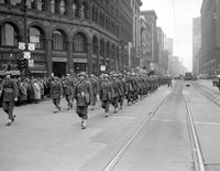 Wars; World; # 2; U. S. ; Home Guard; Michigan state troops parade to City Hall