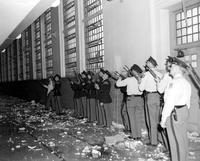 Michigan; Prisons; Jackson; Riot: 1952 . Damaged Bldgs Exterior and Interior views.