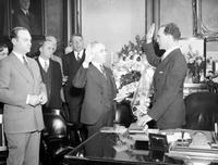 Murphy, Frank; As Governor General of Philippines. With Judge Vincent M. Brennan being sworn in as Governor Gen. of the Philippines.