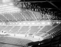 Michigan State Fair; Buildings & Coliseum. Interior shots when being prepared for spelling bee.
