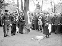 "Monuments & Memorials. Mrs. Edwin Denby at ceremony. ""Denby Memorial"" at Grand Circus Park"