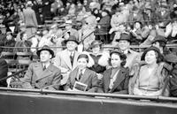 Ford, Edsel; Family; At Baseball Game. at opening game Navin Field. Mr & Mrs. Edsel Ford. Josephine & Henry II. Mr. & Mrs. Edsel, Josephine & William. 2 negs