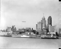 Aero; Dirigibles; Akron; Over Downtown Detroit & Detroit News Bldg.