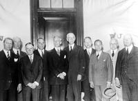 Ford, Edsel; Auto Manufacturer; Groups. L-R:  Roy D. Chapin, Geo. M. Graham, Harvey Firestone, Walter P. Chrysler, A. P. Sloan, Reed Smoot, A. B. Qualey, Edsel Ford, C. Hasting & Alfred H. Swayne.