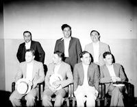 Evola, Sam; Gangster Suspect. -Pictured Back Row, Middle. -Back Row, Left to Right; H. Altman, Sam Evola, Charles Barocco. -Front Row, Left to Right; Nate Levitt, Simon Azler, Pete Corrado, Tony Picarello.