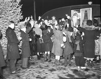 Christmas; Detroit; Santa Claus; With Children. Santa Claus Arriving at Trailer Camp.