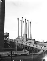 Ford Motor Co. ; plants; River Rouge. Company. Rouge stacks. exterior view.