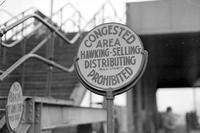 Ford Motor Company; plants; River Rouge. Showing police order sign at bridge.