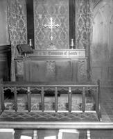 Churches: Episcopal: St. John's: Altar in Chapel. Memorial Altar & Chancel Furniture of Carved Walnut done by Alvis Lang, Gift of Mrs. Frederick B. Stevens.