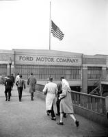 Ford Motor Co. ; plants; Rouge. flags at half mast