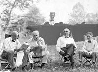 Ford, Henry; Groups. (left to right) Henry Ford, Thomas A. Edison, George Christian, Warren G. Harding, and Harvey S. Firestone